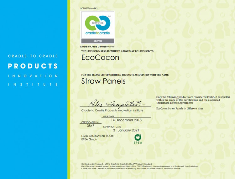 EcoCocon Cradle to Cradle Certificate